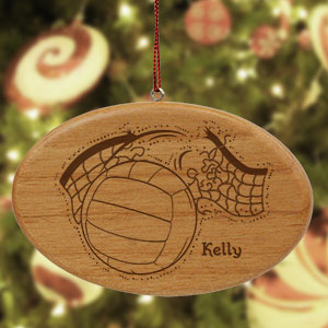 Engraved Volleyball Wooden Oval Ornament | Personalized Volleyball Ornament