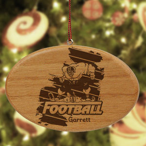 Engraved Football Player Wooden Oval Ornament | Football Ornaments Personalized