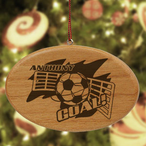Engraved Soccer Player Wooden Oval Ornament