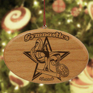 Engraved Gymnastics Wooden Oval Ornament | Personalized Gymnastics Ornament