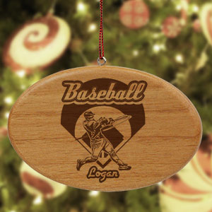 Engraved Baseball Wooden Oval Ornament U37702