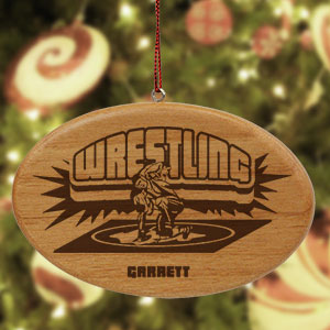 Engraved Wrestling Wooden Oval Ornament | Personalized Wrestling Ornaments