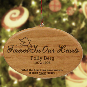 Engraved Forever In Our Hearts Wooden Oval Ornament W44592