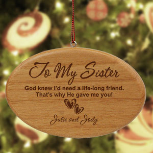 Engraved Sister Wooden Oval Ornament