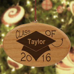 Engraved Class of Wooden Oval Ornament