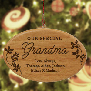 Engraved Special Family Wood Ornament