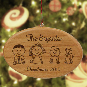 Engraved Stick Figure Wooden Holiday Ornament