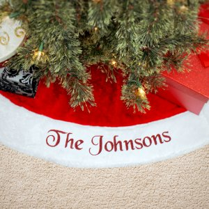 Red Plush Embroidered Christmas Tree Skirt