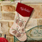 Embroidered Pine Cone Christmas Stocking S34539