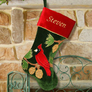 Embroidered Cardinal Christmas Stocking
