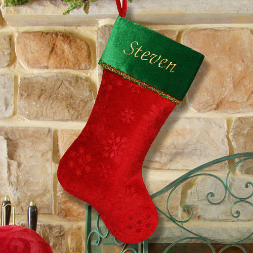 Embroidered Snowflake Green Christmas Stocking | Personalized Christmas Stockings