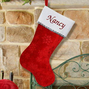 Embroidered Snowflake Red Christmas Stocking | Personalized Christmas Stockings