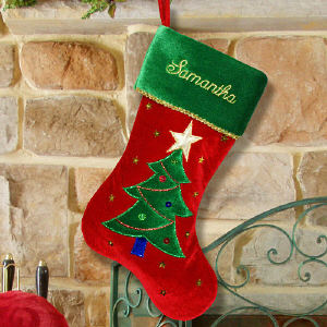 Christmas Tree Embroidered Stocking