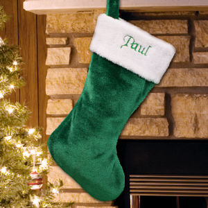 Green Plush Embroidered Christmas Stocking