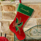 Embroidered Holly Leaves and Berries Christmas Stocking