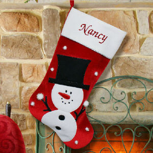 Embroidered Snowman Christmas Stocking