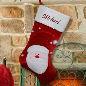 Embroidered Santa Christmas Stocking