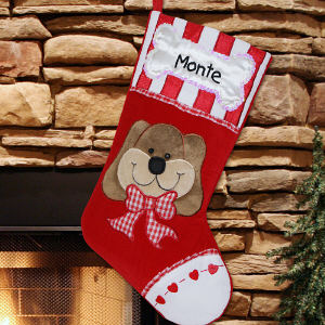 Embroidered Dog Christmas Stocking | Embroidered Christmas Stockings