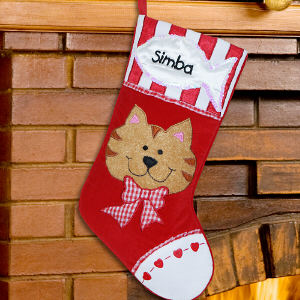 Embroidered Cat Christmas Stocking | Embroidered Christmas Stockings