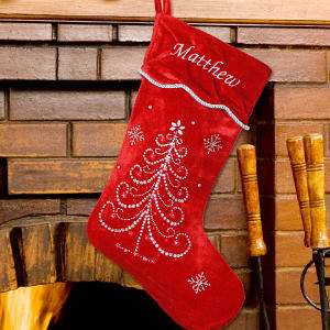 Embroidered Rhinestone Christmas Stocking
