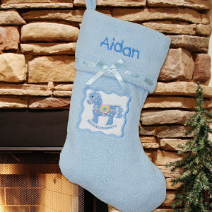 Personalized Blue Rocking Horse Stocking