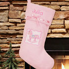 Embroidered Blue Rocking Horse First Christmas Stocking S40079