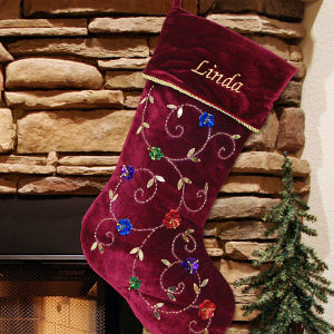 Embroidered Burgundy Flower Christmas Stocking
