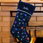 Embroidered Blue Sequin Flower Christmas Stocking