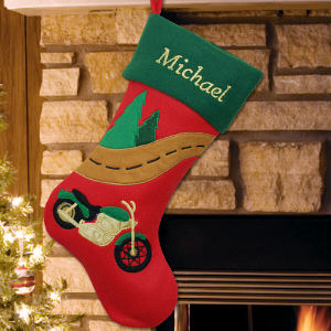 Embroidered Motorcycle Christmas Stocking | Unique Personalized Stocking