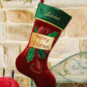 Embroidered Merry Christmas Stocking