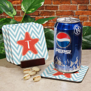 Personalized Starfish Chevron Drink Coasters