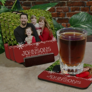 Personalized Christmas Photo Coaster Set
