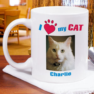 I Love My Cat Personalized Photo Coffee Mug