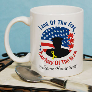Land of the Free Personalized Military Ceramic Coffee Mug