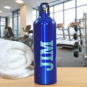 Engraved Blue Aluminum Water Bottle
