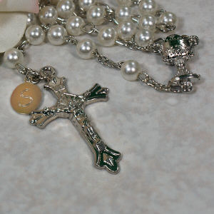 Personalized White Communion Rosary