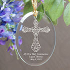 Engraved First Holy Communion Oval Glass Ornament