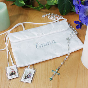 Embroidered Satin First Communion Purse