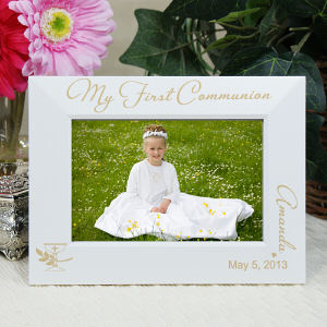 Engraved My First Communion Picture Frame