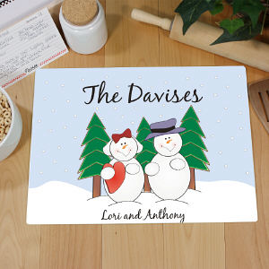 Personalized Snowman Family Cutting Board