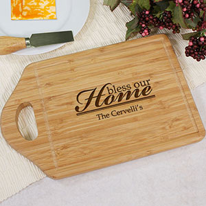 Engraved Bless Our Home Cheese Carving Board | Personalized Cutting Board