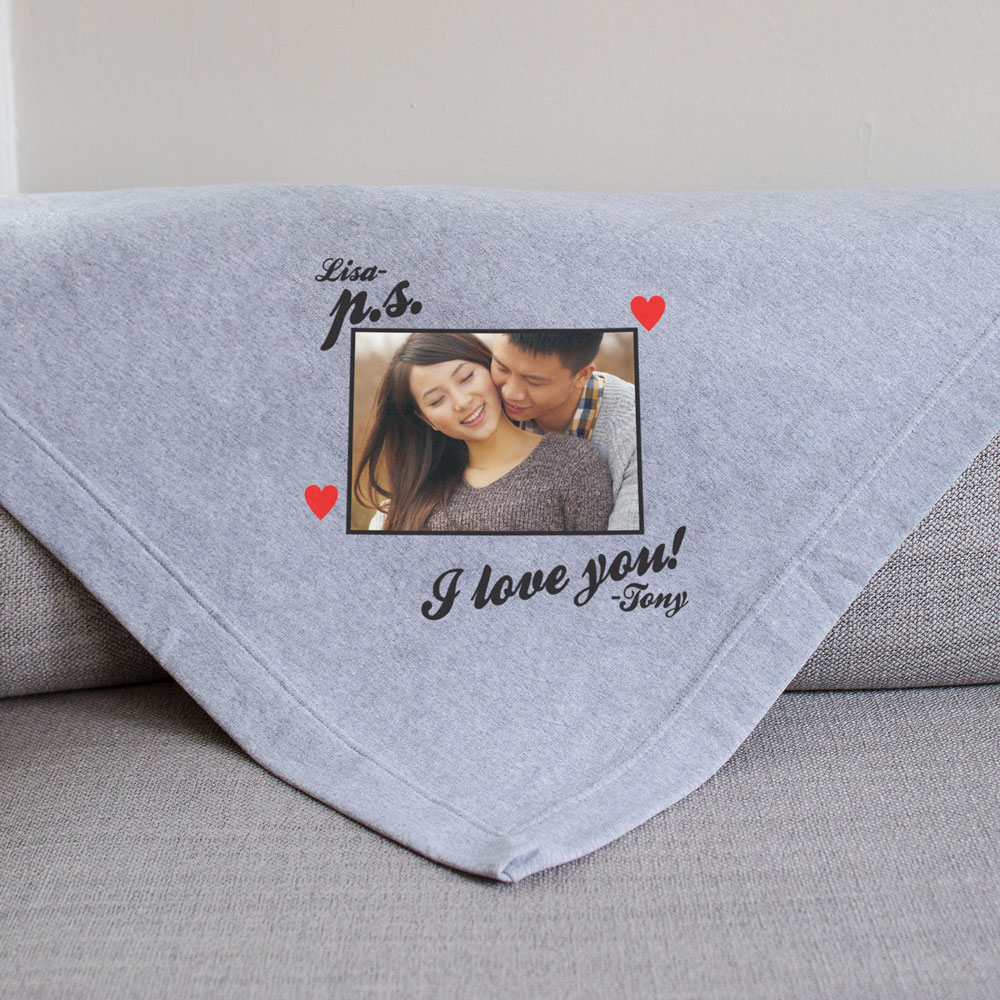 Personalized P.S. I Love You Photo Fleece Blanket | Personalized Valentine's Day Gifts