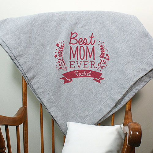 Personlaized Best Mom Ever Fleece Blanket | Personalized Blankets