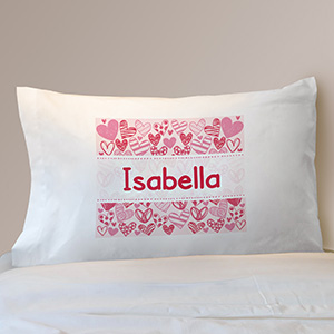 Hearts of Love Personalized Pillowcase