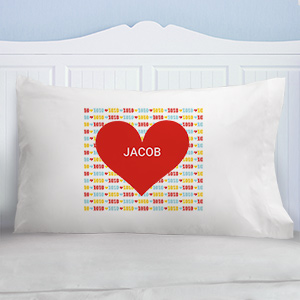 Personalized Red Heart Kids Pillowcase | Valentines Day Gifts For Kids