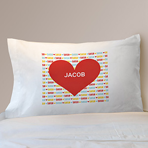 Personalized Red Heart Kids Pillowcase