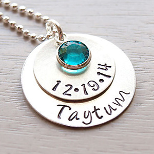 Birthdate Hand Stamped Necklace DKBNKBDATE