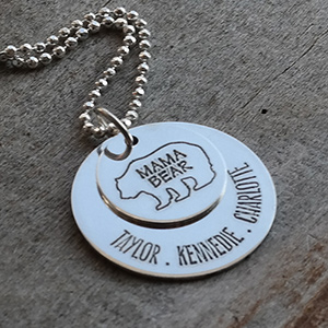 Engraved Mama Bear Necklace | Personalized Gifts For Mom