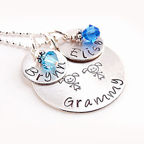 Personalized Grandma Handstamped Necklace | Personalized Valentine's Day Jewelry