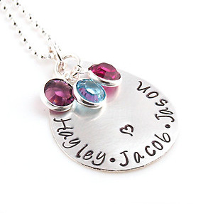 Personalized Mom Hand Stamped Necklace DKBNKTDPLV